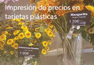 Impresión de precios en tarjetas plásticas