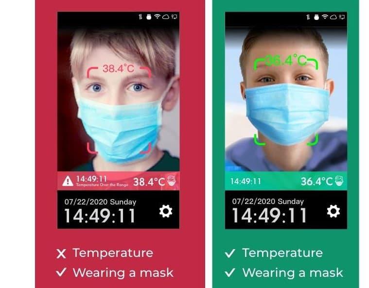 Reconocimiento facial, control de temperatura y detección de mascarilla