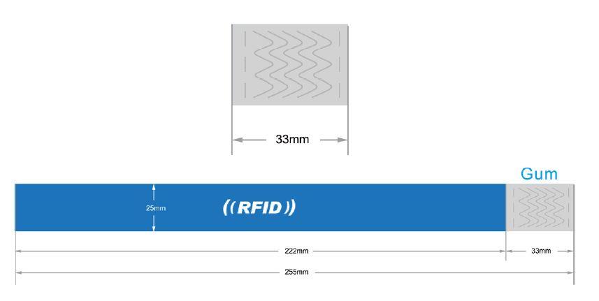 Pulsera Tyvek chip RFID personalizable